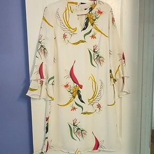 White, floral print, shift dress w/ bell sleeves